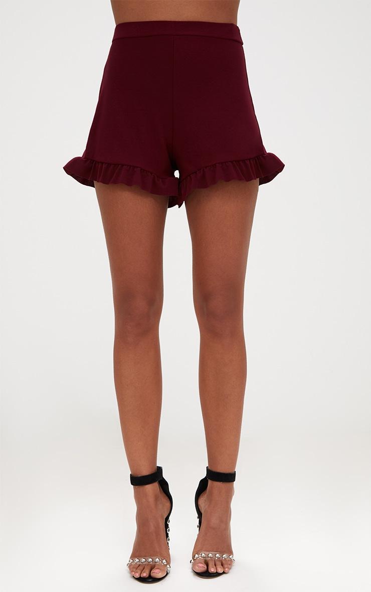Burgundy Frill Hem Shorts 2