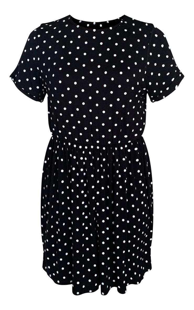 Black Polka Dot Frill Detail Smock Dress 5