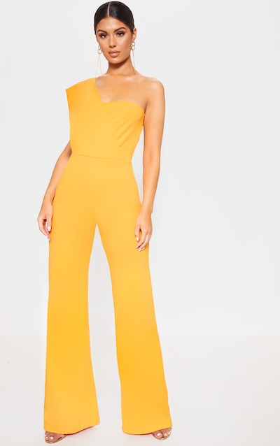 56a4ba914c7 Bright Orange Drape One Shoulder Jumpsuit