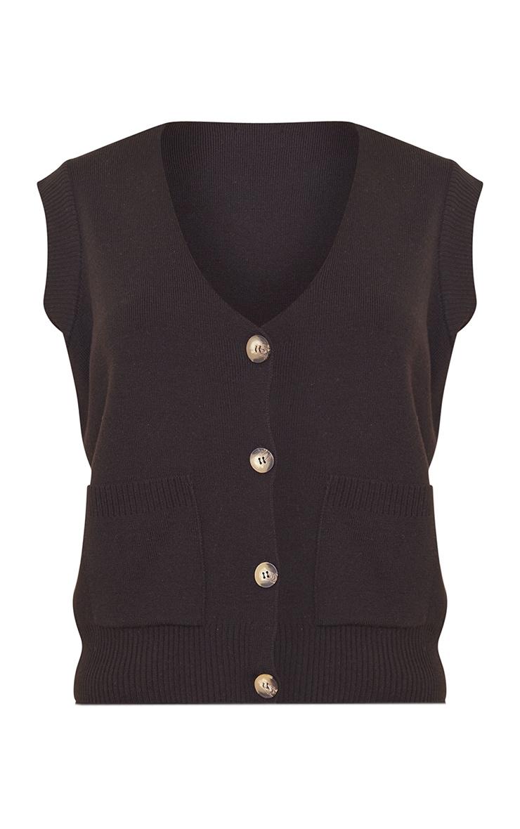 Black Knitted Pocket Detail Button Down Vest 5