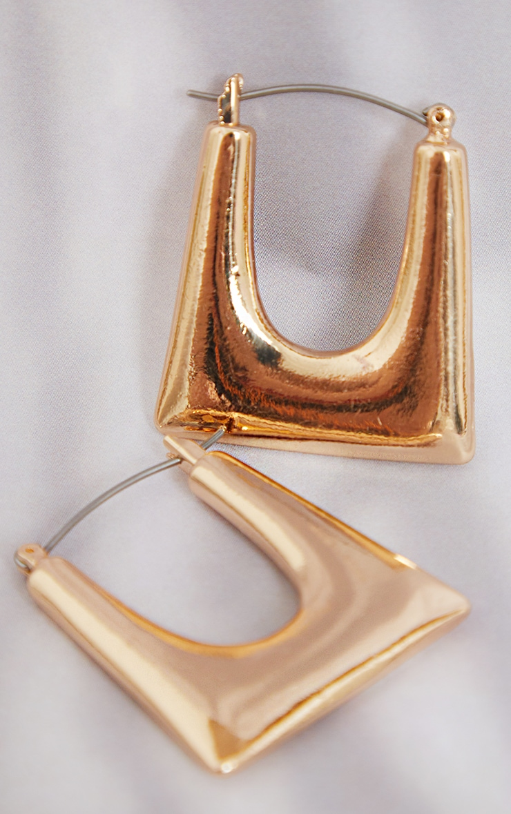 Gold Cut Out Square Hoop Earrings 3