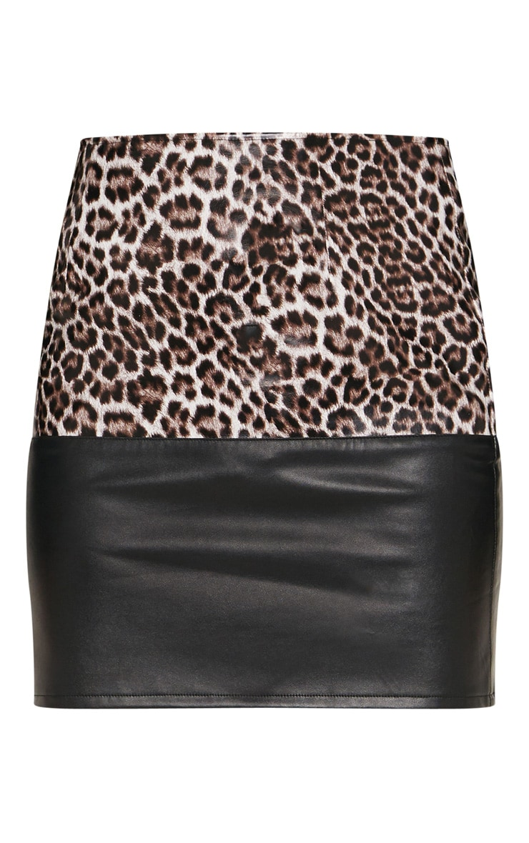 Brown Faux Leather Animal Print Colour Block Skirt 3
