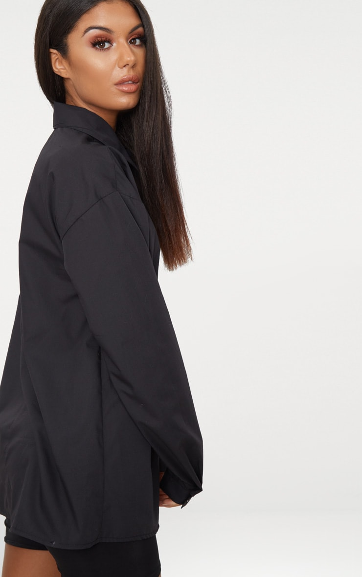 Black Cotton Oversized Shirt  2