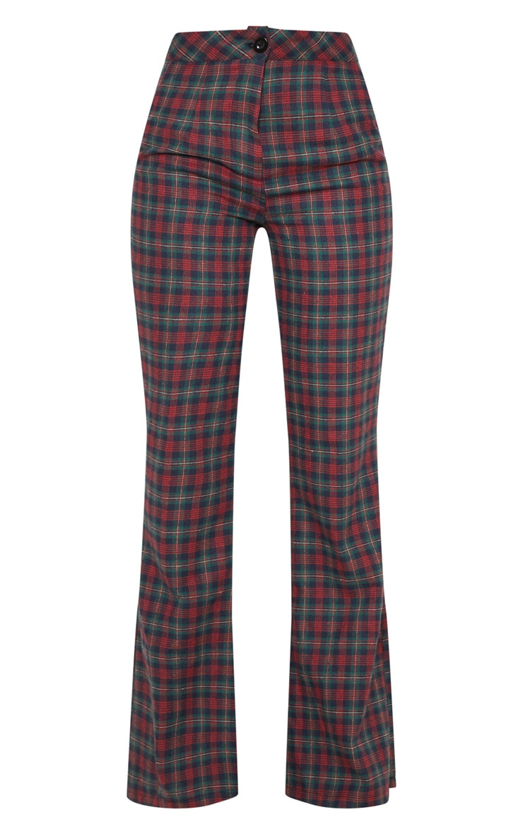Multi Tartan Print High Waisted Flare Leg Trouser 3