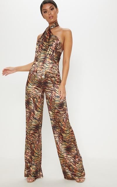 305671e6cbc Tan Tiger Print Wrap Neck Jumpsuit