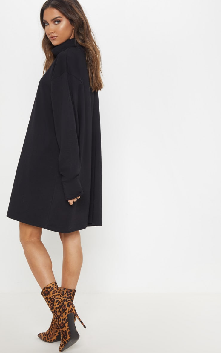 Black High Neck Long Sleeve T-Shirt Dress 2