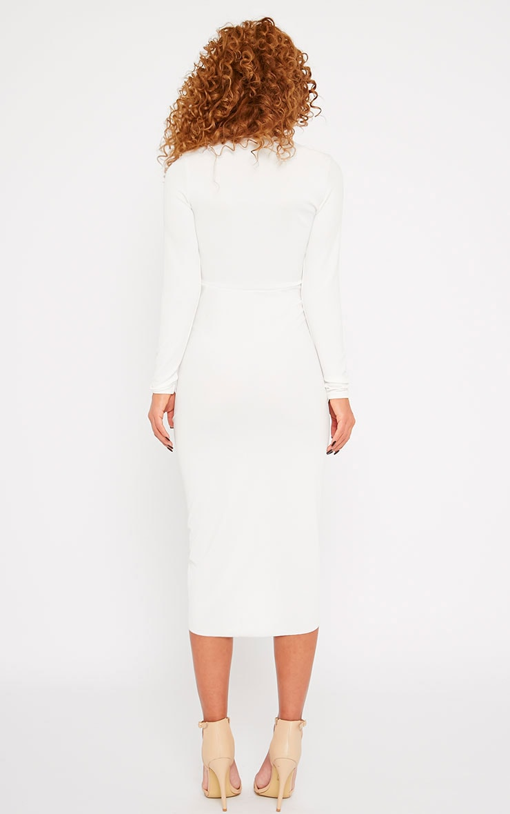 Zoey Cream Ruched Midi Dress 2