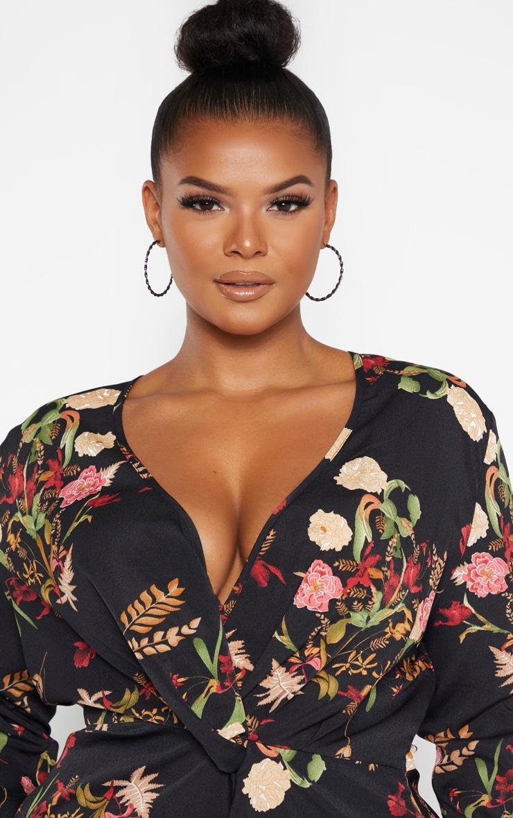 PLT Plus - Robe cache-coeur noire à imprimé floral style asiatique satinée à manches longues 5