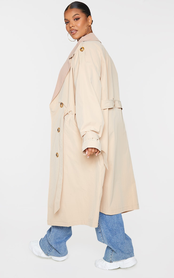 Plus Stone Contrast Lapel Tortoise Shell Button Trench 2