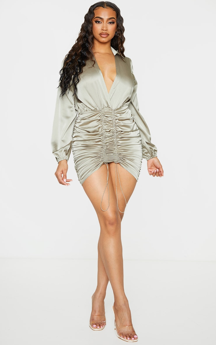 Sage Green Satin Plunge Ruched Shirt Style Bodycon Dress 1
