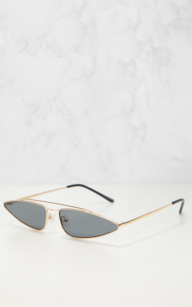 Gold Slim Retro Sunglasses 2