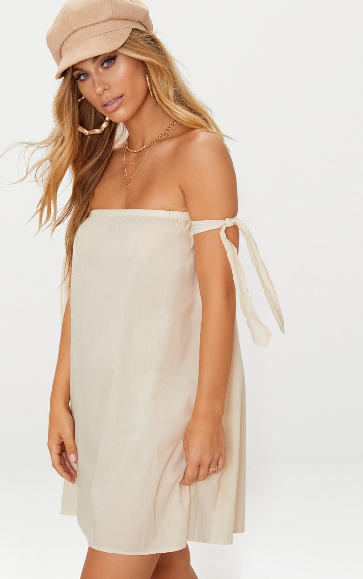 Stone Bardot Tie Detail Smock Dress 1
