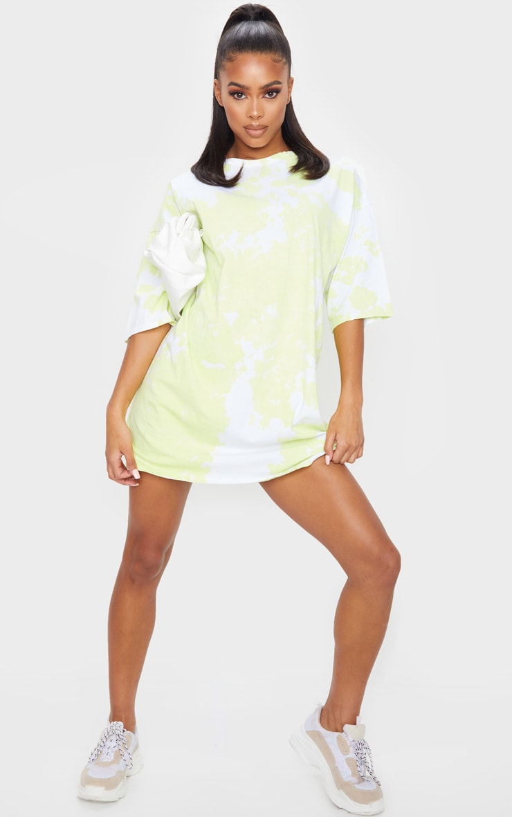 Lime Tie Dye Oversized T-Shirt Dress 1