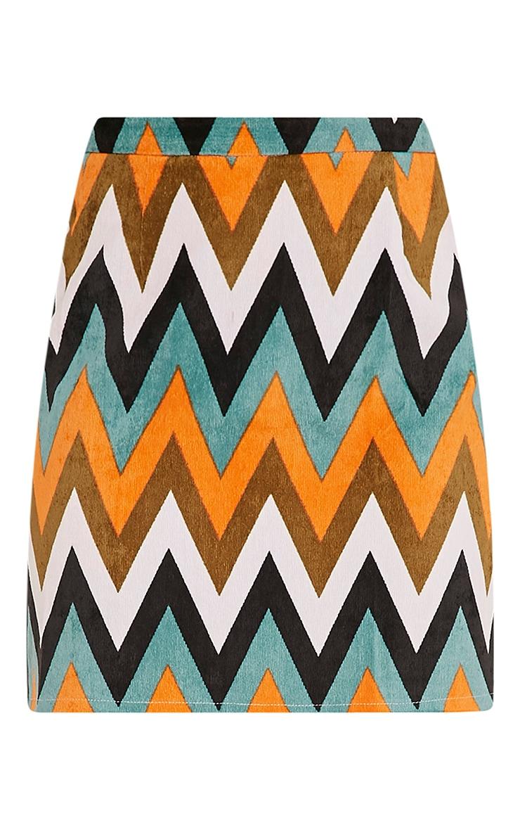 Annetta Turquoise Chevron Cord Mini Skirt 3