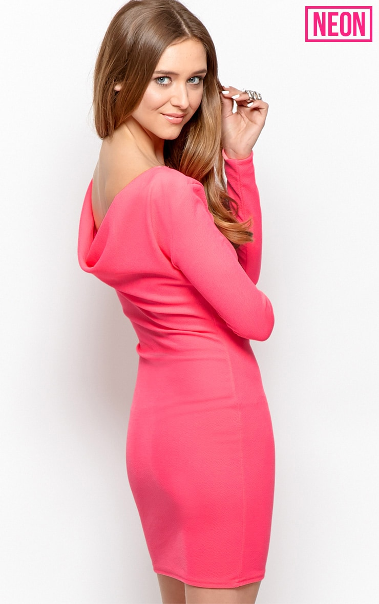 Gracie Neon Pink Cowl Back Dress 1