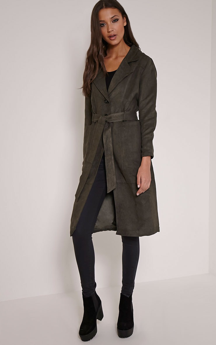 Elinor Dark Khaki Faux Suede Trench Coat 1