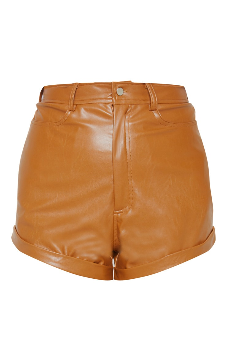 Chestnut Faux Leather Turn Up Hem Short 3