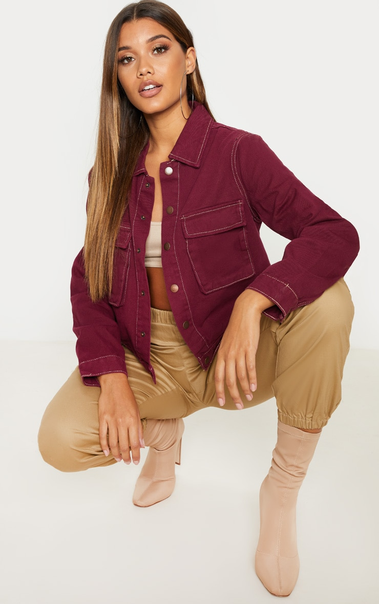 Burgundy Contrast Stitch Trucker Pocket Jacket 1