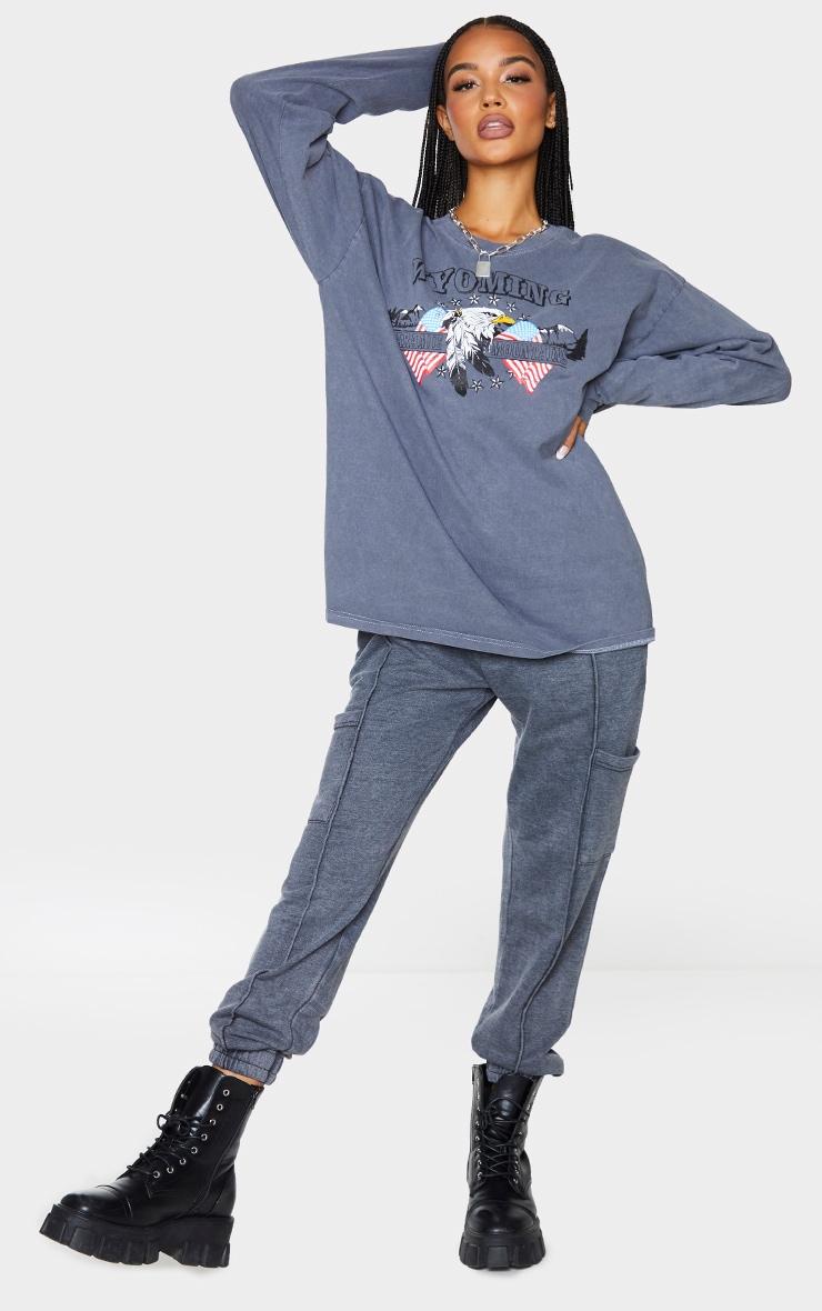 Black Wyoming Printed Washed Long Sleeve T Shirt 3