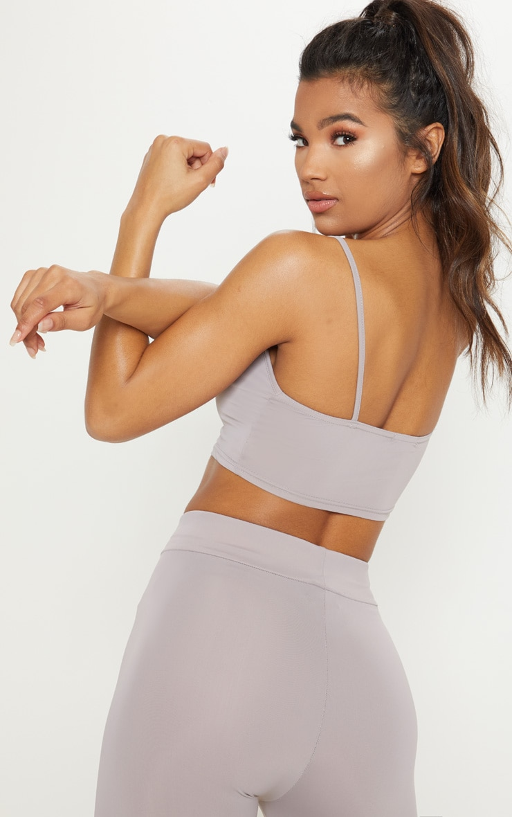 Grey Basic Gym Crop Top 2
