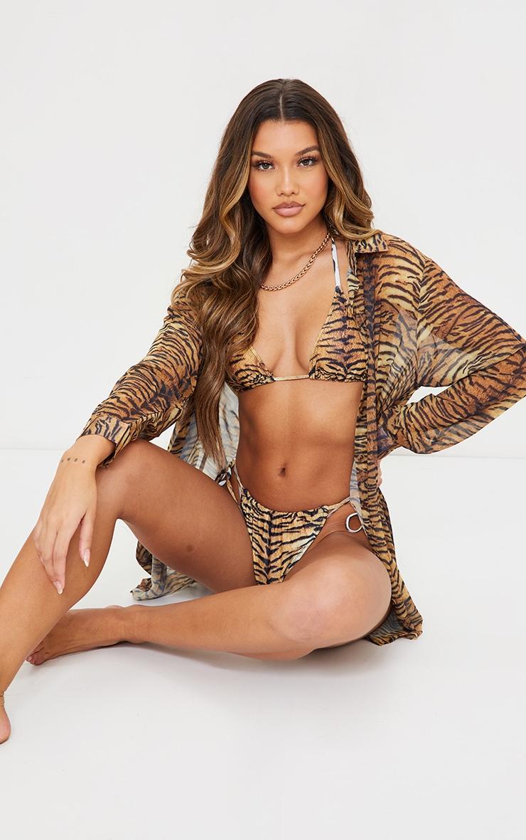 Brown Tiger Oversized Beach Shirt 3