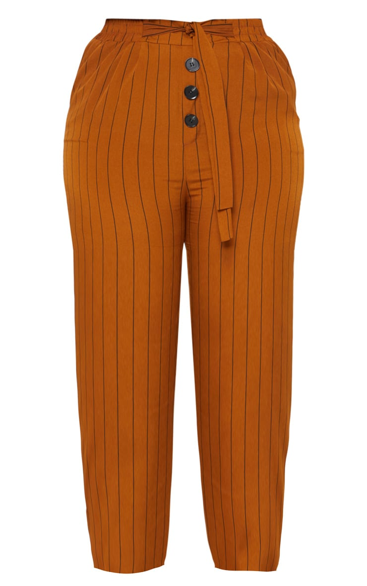 Plus Brown Pinstripe Button Detail Casual Trouser 3