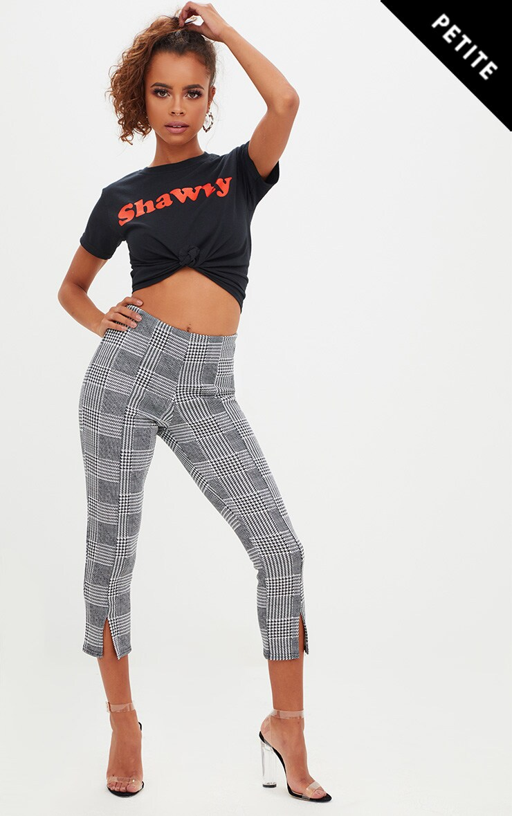 Petite Check Split Hem Trousers 1