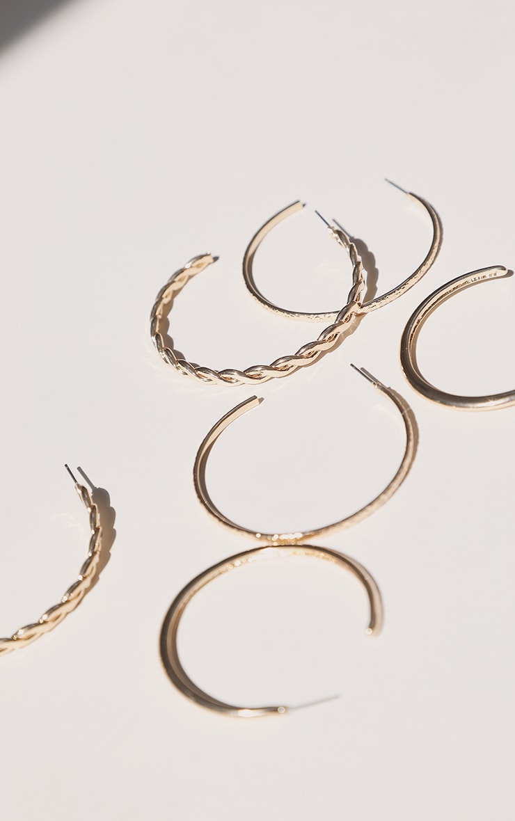 Gold Assorted Textured Multi Pack Hoop Earrings 3
