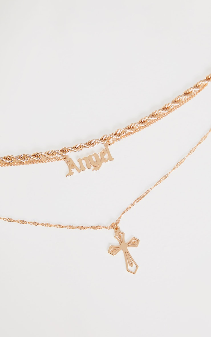 Gold Angel Layering Necklace 3