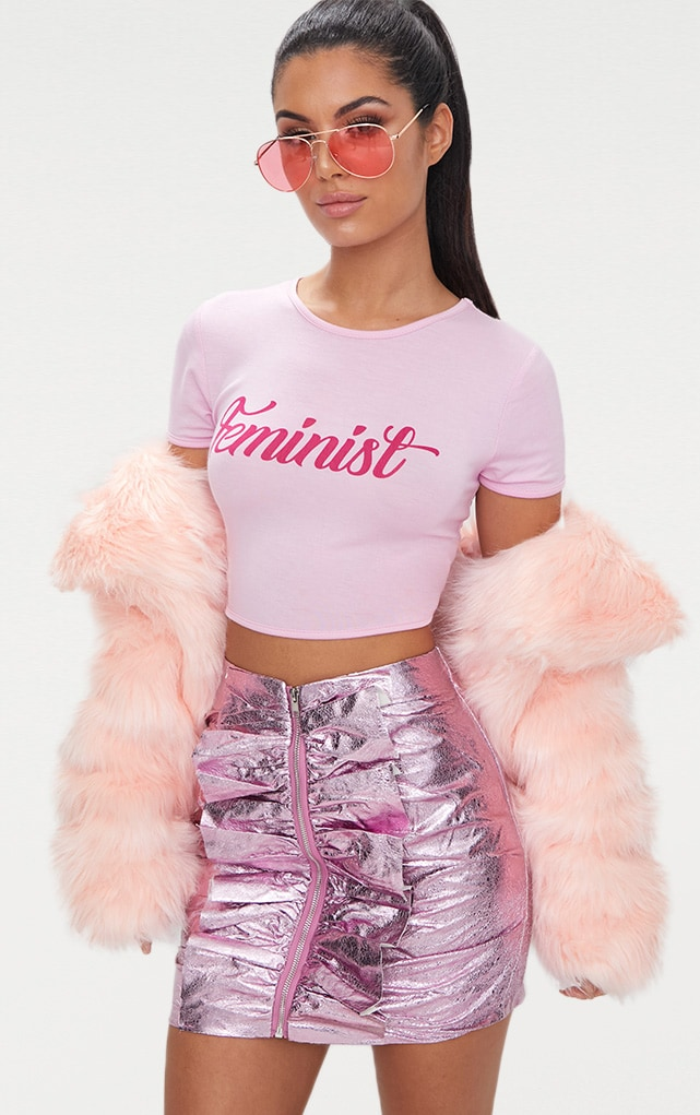 Feminist Slogan Baby Pink Crop Top 2