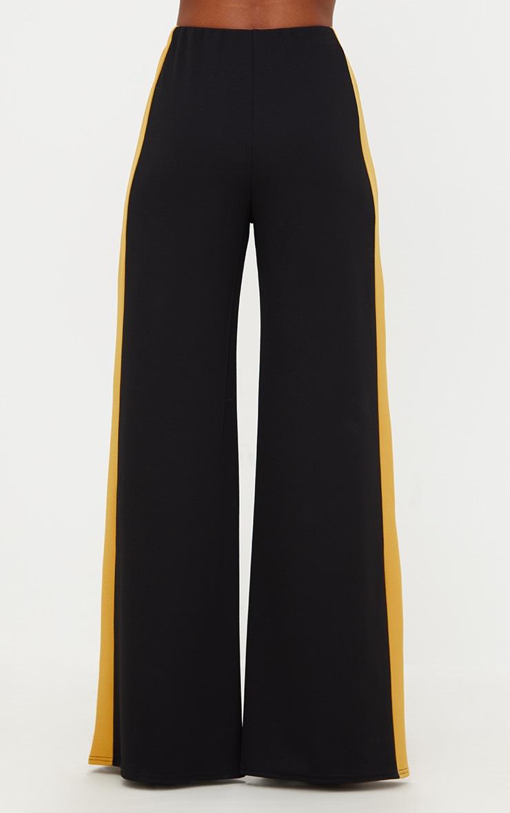 Black Contrast Stripe Wide Leg Trousers 2