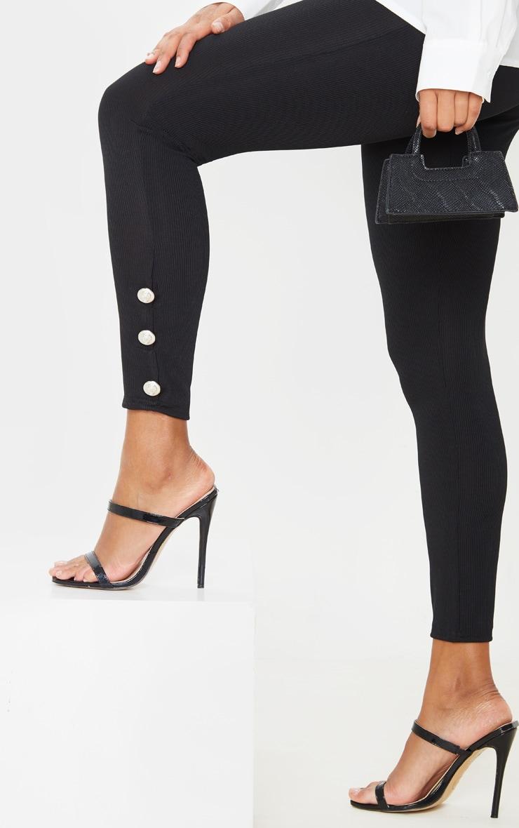 Black Button Hem Detail Leggings 5