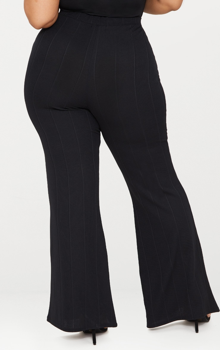 Plus Black Bandage Wide Leg Trousers 4