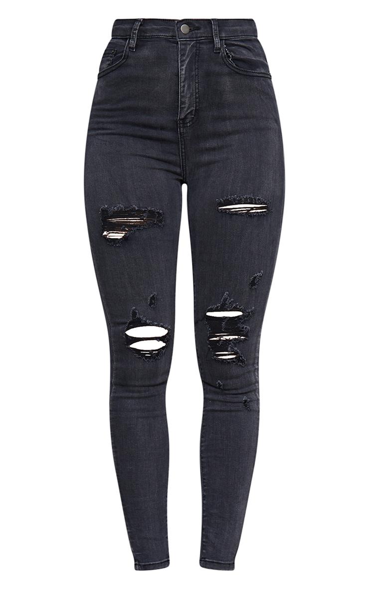 PRETTYLITTLETHING Washed Black Distressed 5 Pocket Skinny Jean 5