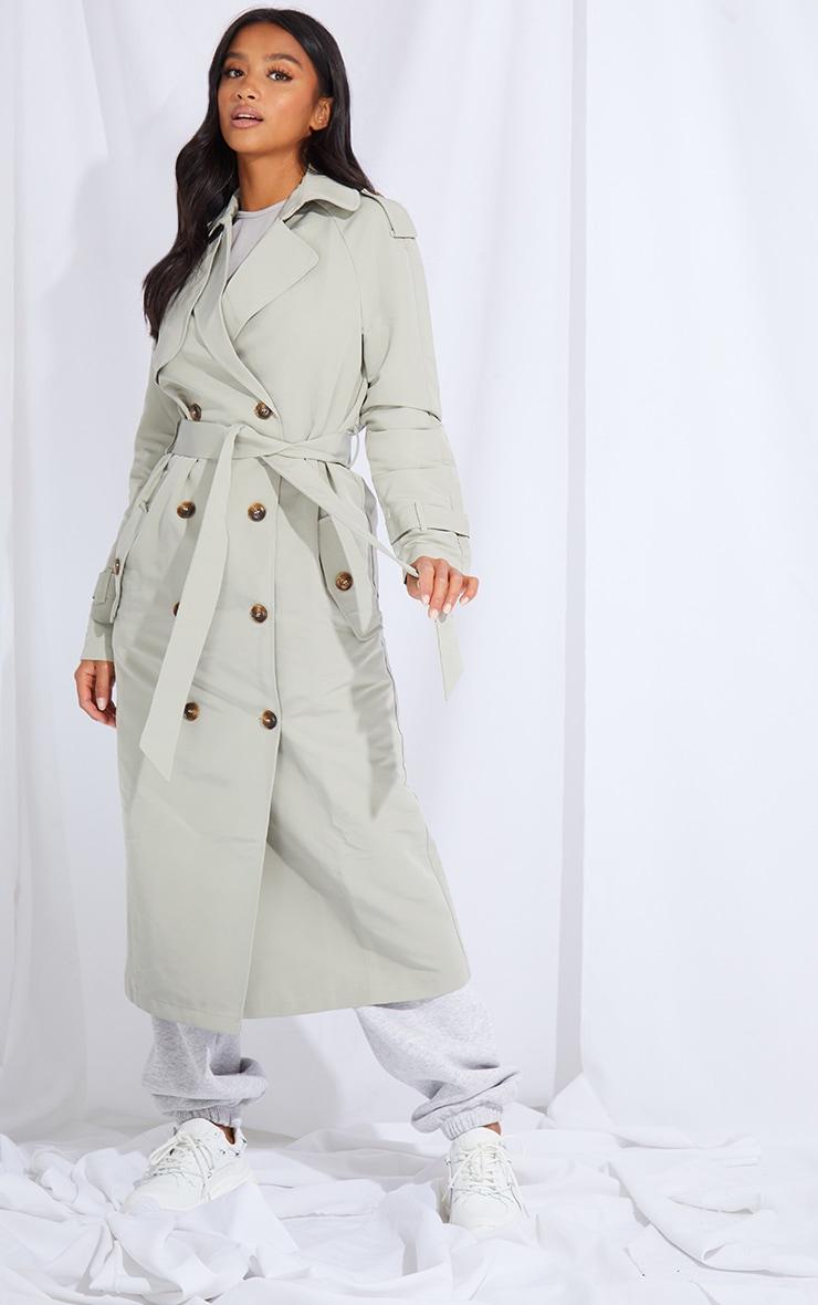 Petite Khaki Oversized Trench Coat 3