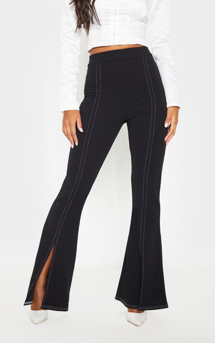 Black Split Leg Flare Trouser 2