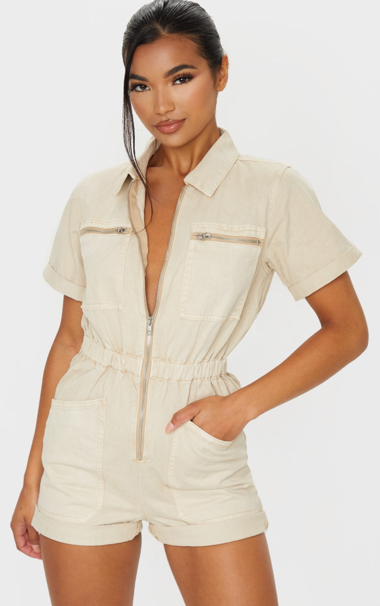 Stone Zip Front Denim Playsuit image 1