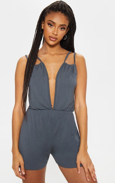 ffc211d6064 Charcoal Plunge Double Strap Playsuit