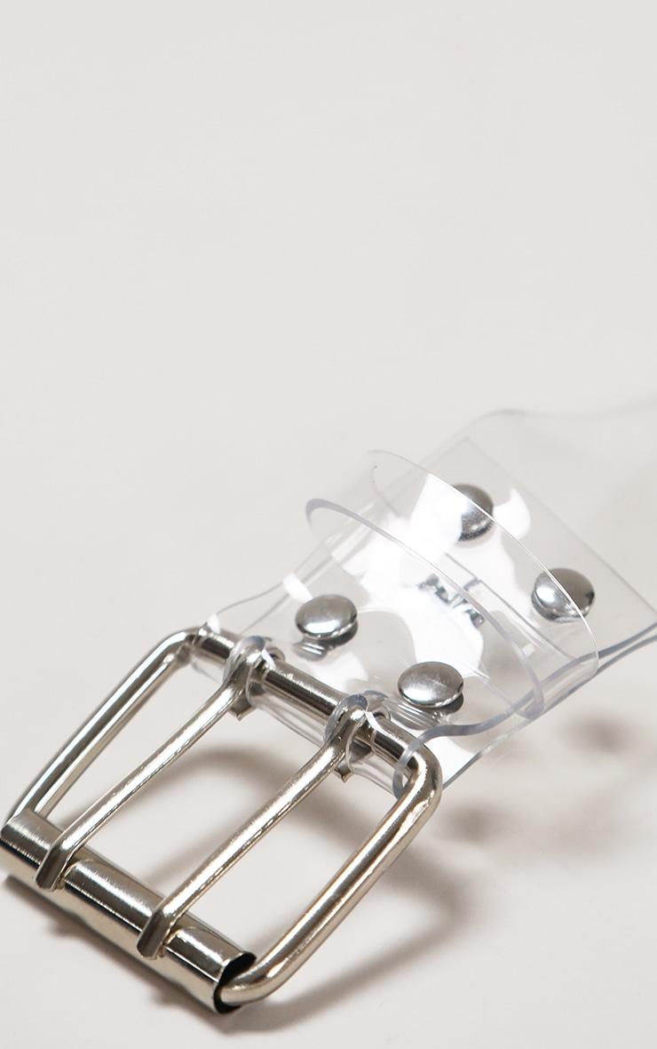 Clear PU Silver Multi Studded Waist Belt 2