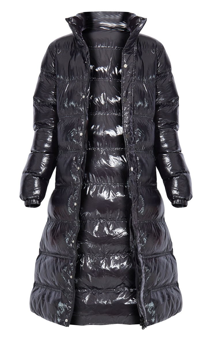 Tall Black Maxi High Shine Fitted Puffer Coat 5