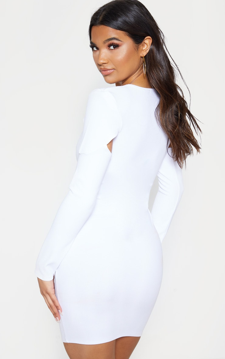 Stone Puff Sleeve Cut Out Bodycon Dress 2