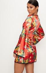 902fab2dd875 Red Oriental Contrast Kimono Wrap Dress image 2
