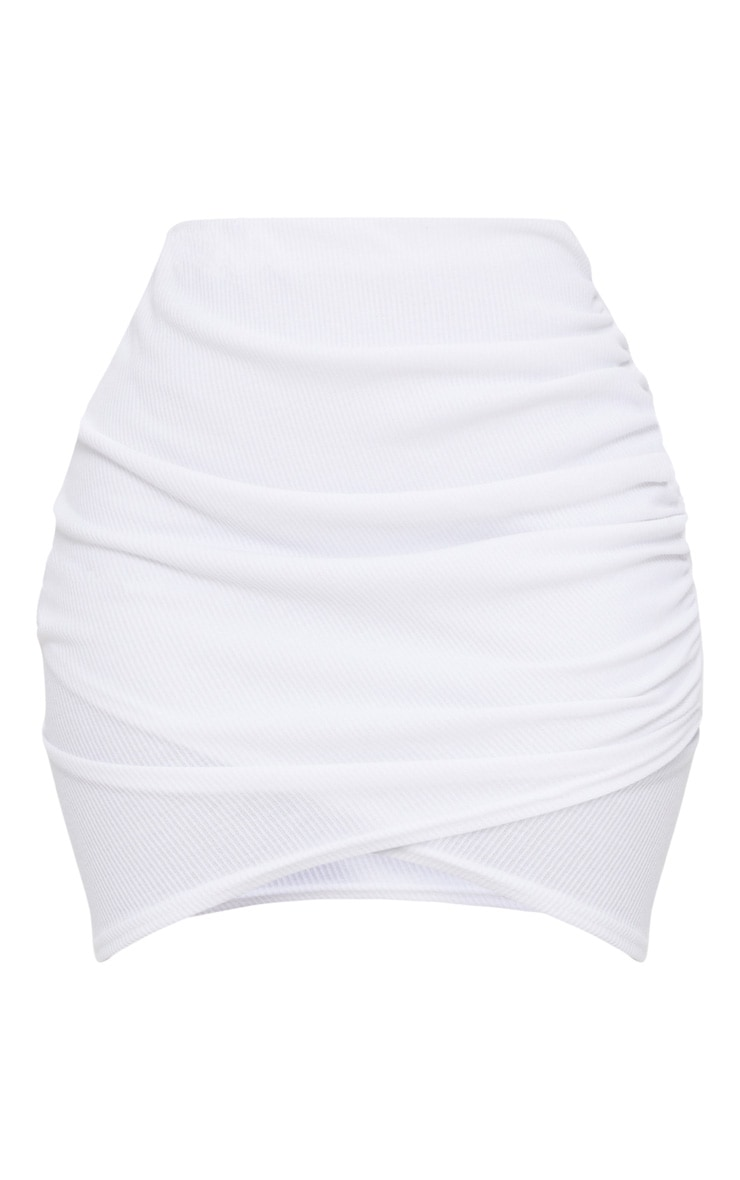 Shape White Ribbed Bodycon Skirt 3