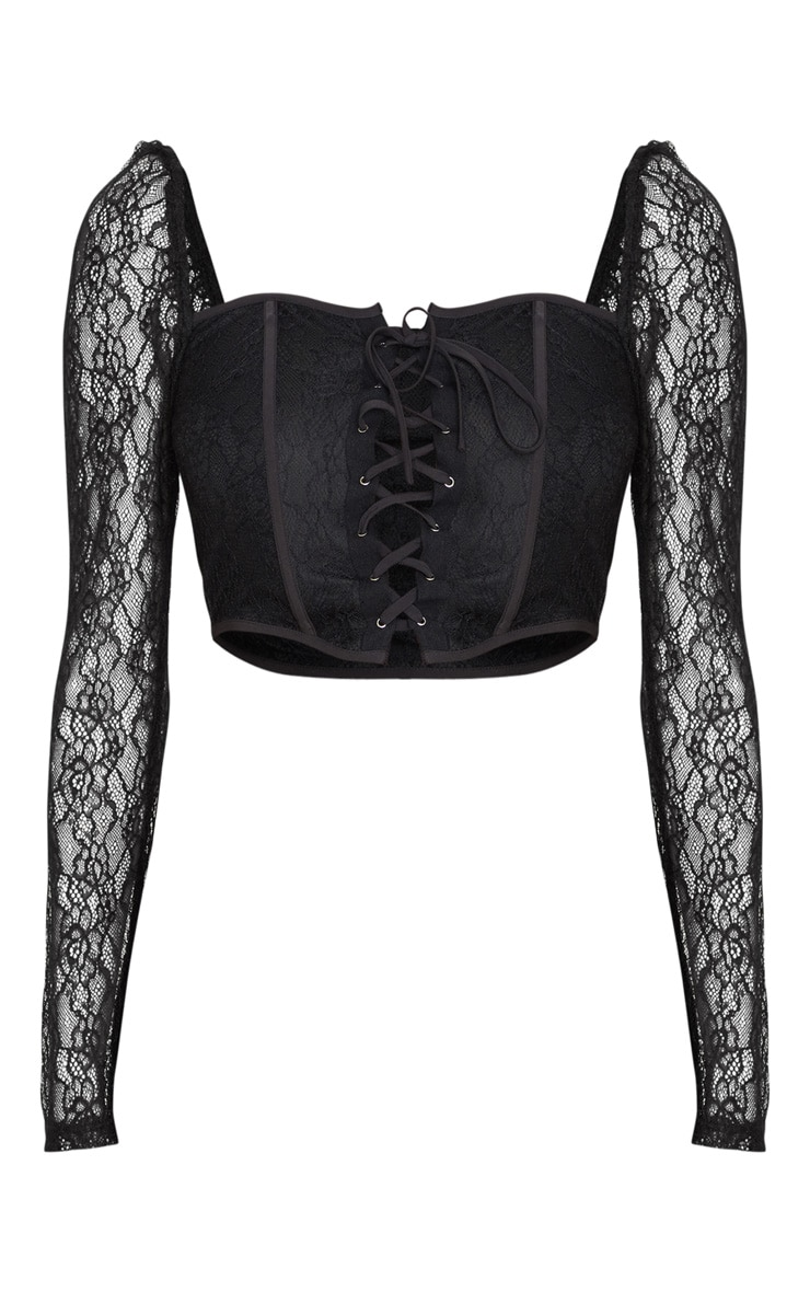 Black Lace Curved Hem Lace Up Long Sleeve Top 5