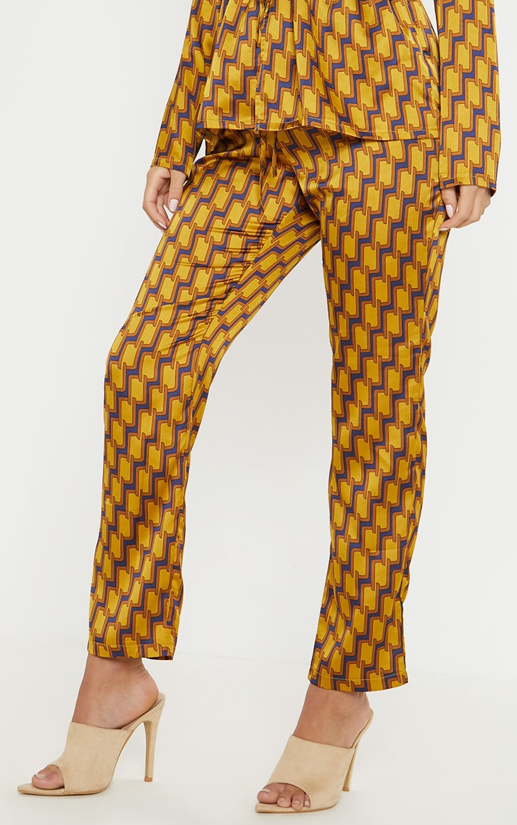 Mustard Satin Printed Straight Leg Trouser 2