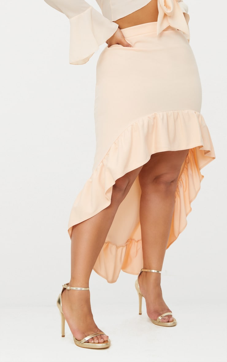 Plus Nude Frill Hem Midi Skirt 2