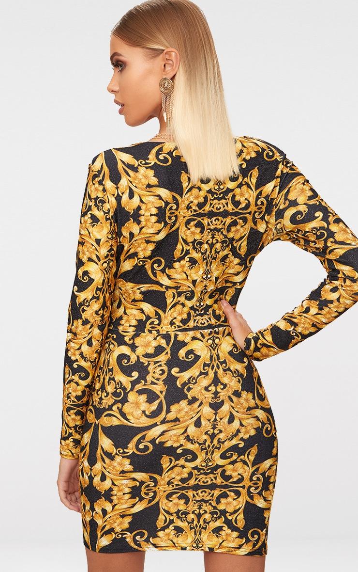 Black Glitter Baroque Print Long Sleeve Plunge Bodycon Dress 2