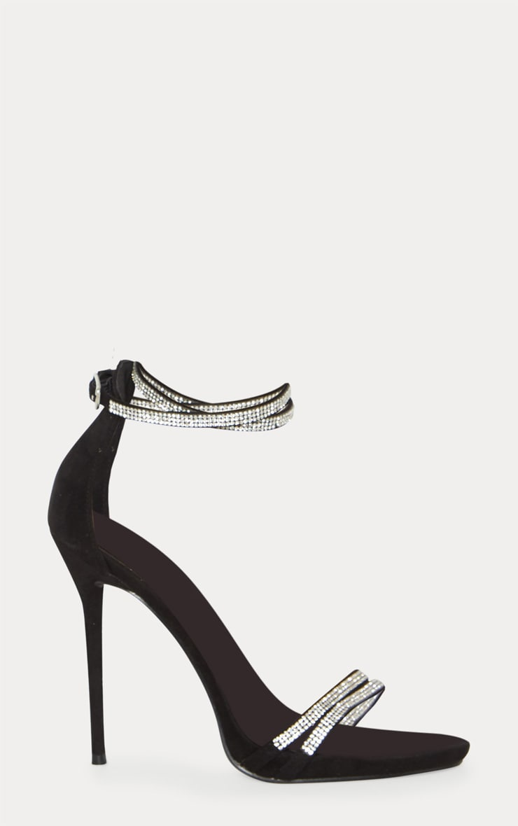 Black Diamante Jewel Strappy Sandal 3