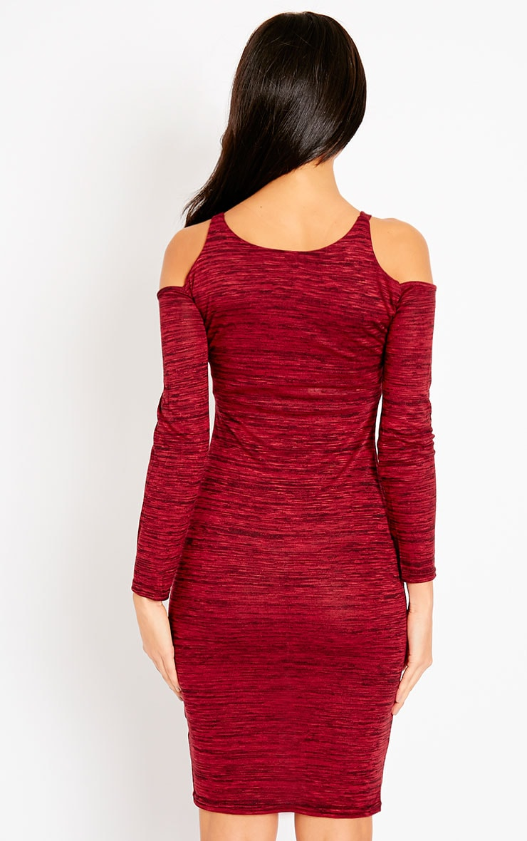 Izadora Wine Cut Out Long Sleeve Midi Dress 5