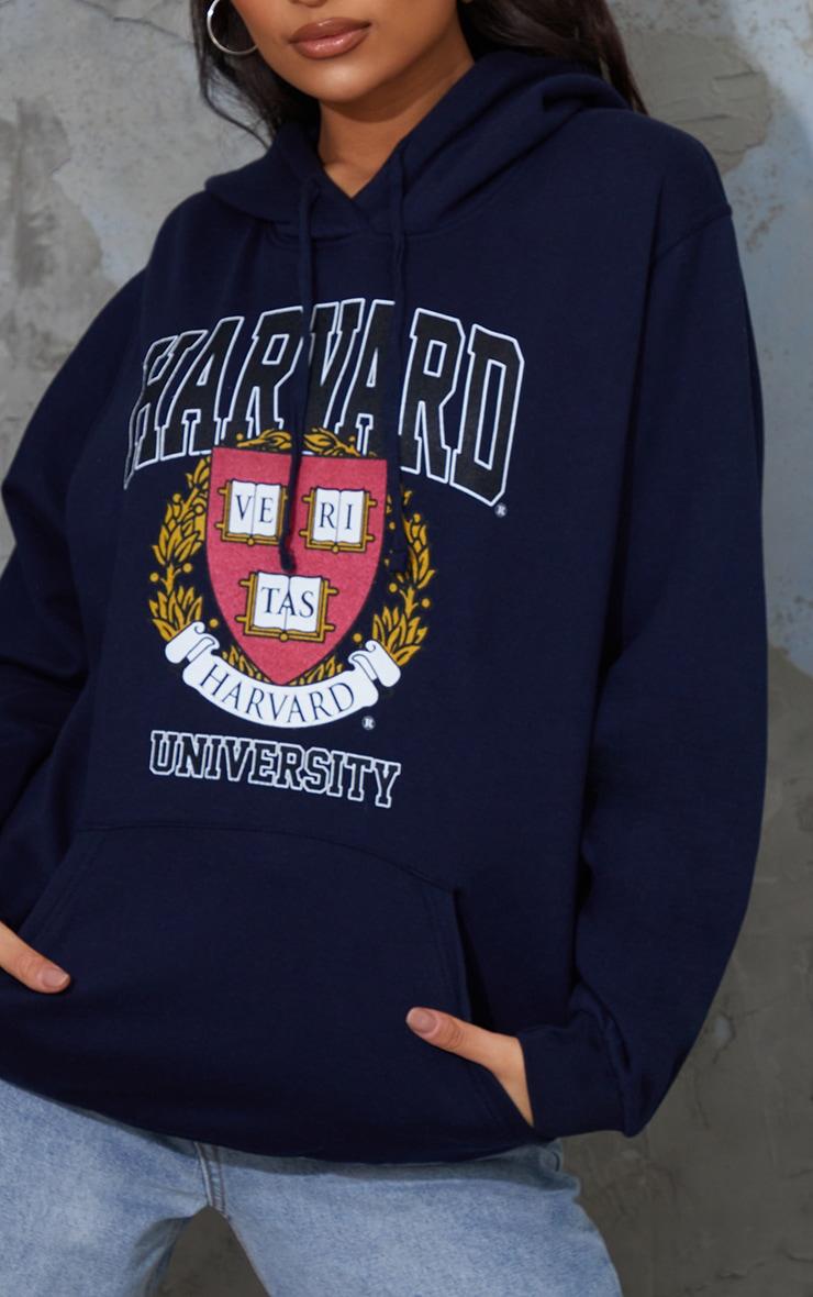 Navy Harvard University Printed Slogan Hoodie 4